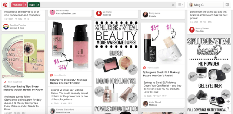 Makeup Dupe on Pinterest - SEO Example
