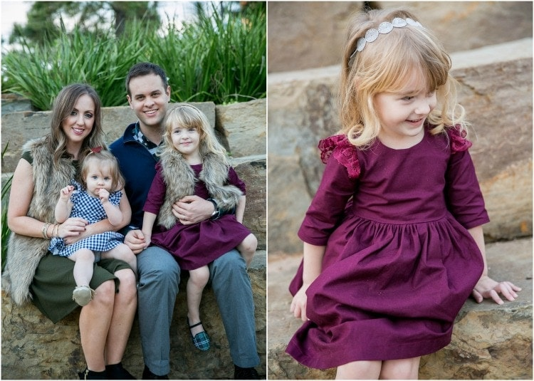Family photo outfit ideas - jewel tones, fur vests