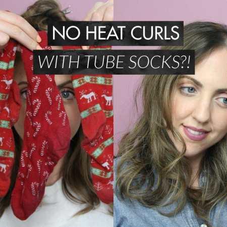No Heat Curls with Tube Socks