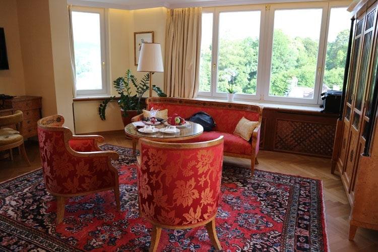 our suite at the Hotel Schloss Monchstein in Salzburg, Austria