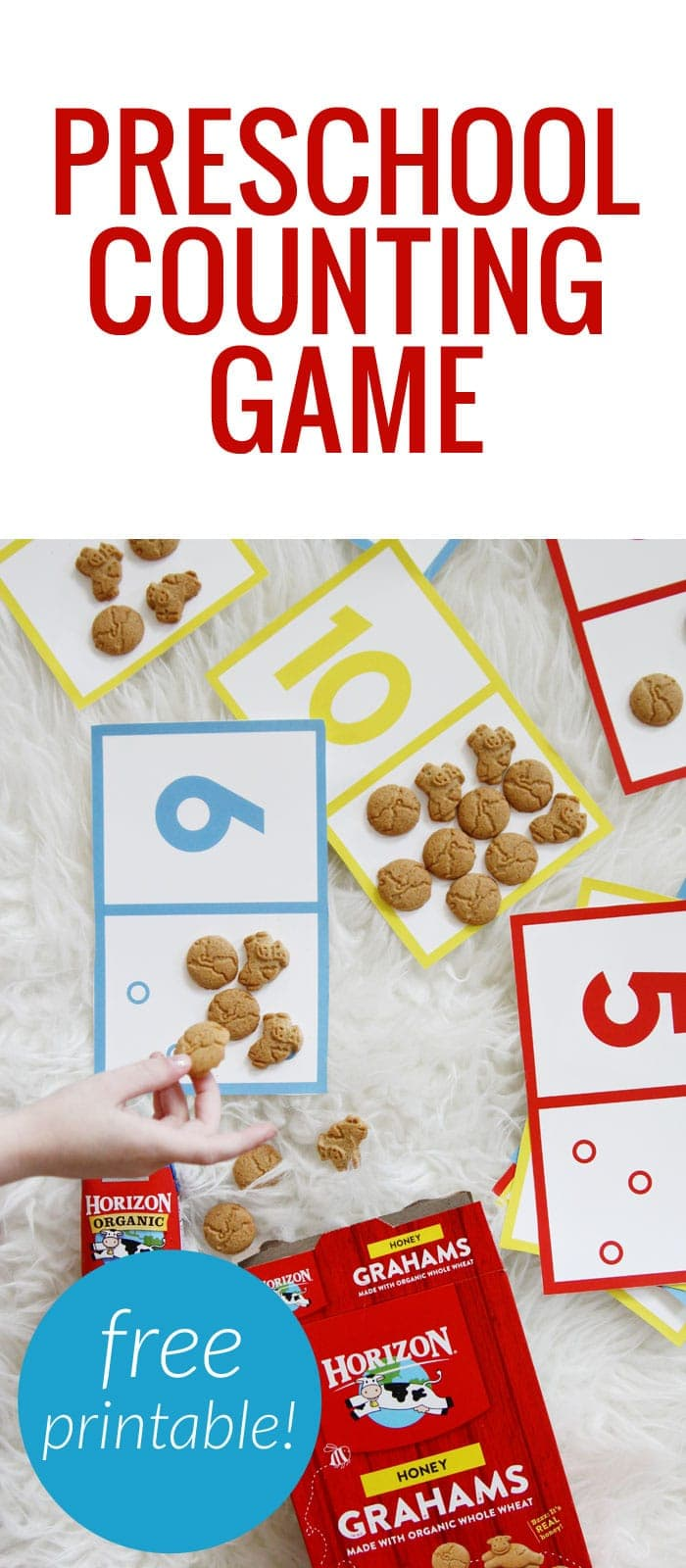 Preschool counting game - cut and print out the cards and have kids count the dots with snacks and recognize numbers! #HorizonOrganic @HorizonOrganic