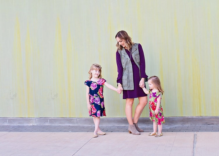 Mother daughter fall outfits - jewel tones and floral