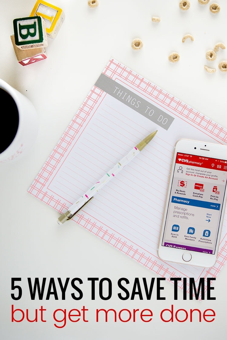 5 ways to save time but get more done! Such great tips for busy moms!