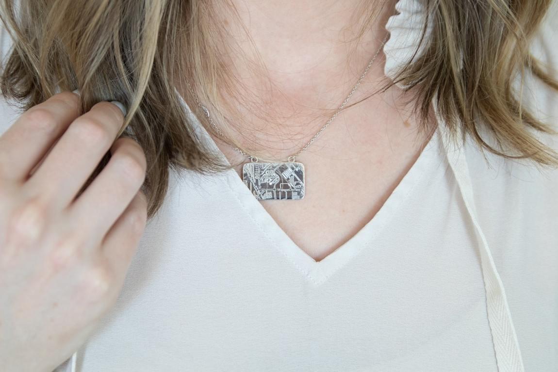 A. Jaffe map pendant necklace