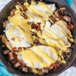 This Meat Lovers Skillet is a rich, hearty way to start your day. A great option for Fathers day breakfast or brunch.