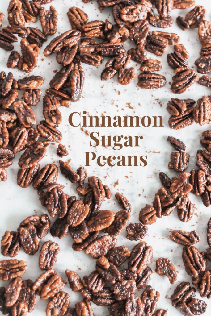 Cinnamon Sugar Pecans are the perfect sweet little treat. Lovely addition to your holiday baking list.