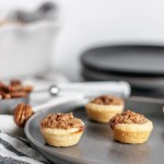 Mini Pecan Pies are a simple and totally delicious option for dessert this Thanksgiving. Quick homemade crust and sweet pecan filling.