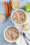Need something warm and cozy? Feeling under the weather? This Instant Pot Chicken Rice Soup is the perfect soup to warm you up or help heal you. Simple ingredients, simple preparation and just a few minutes until soup is on the table.