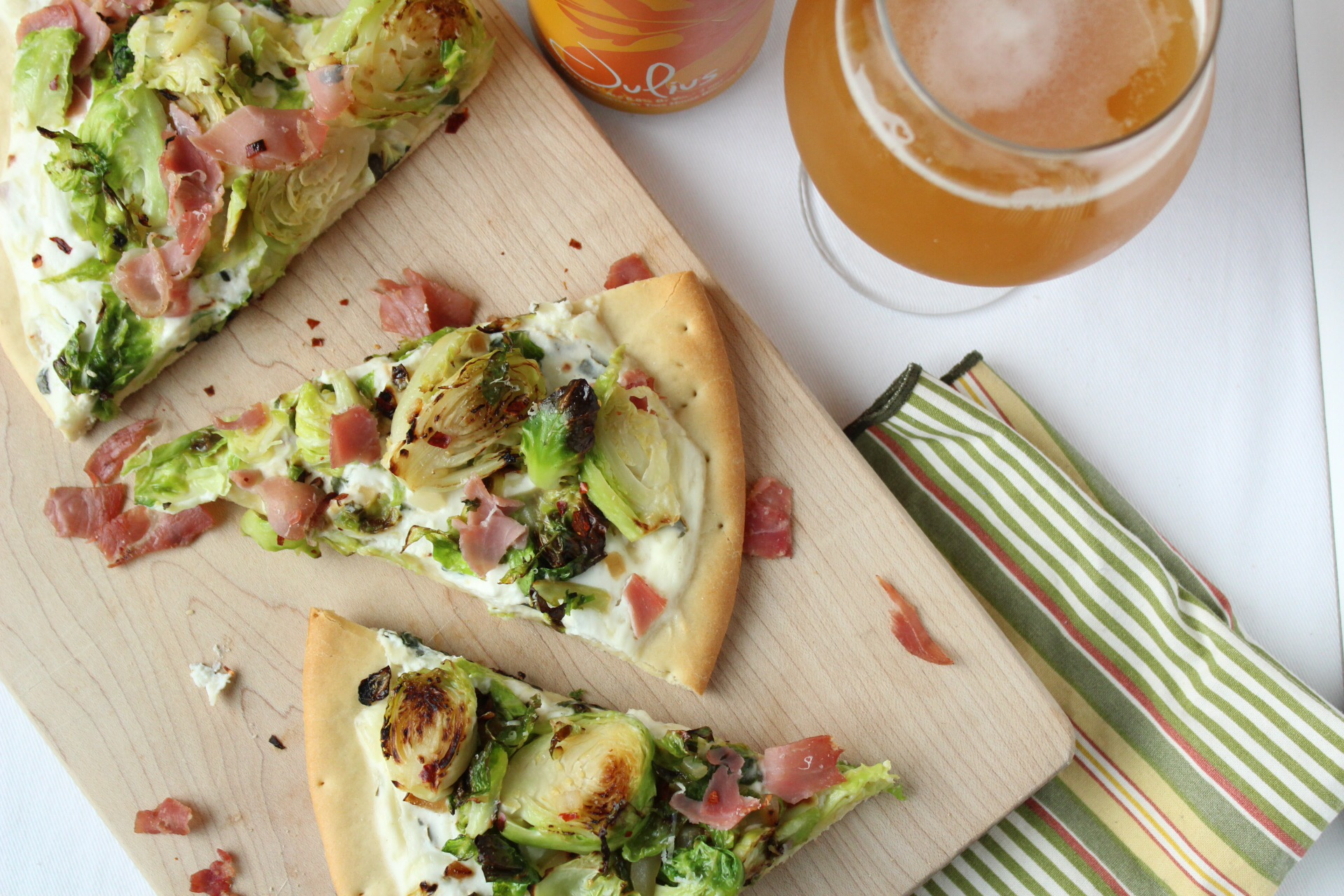 Prosciutto and brussel sprout flatbread