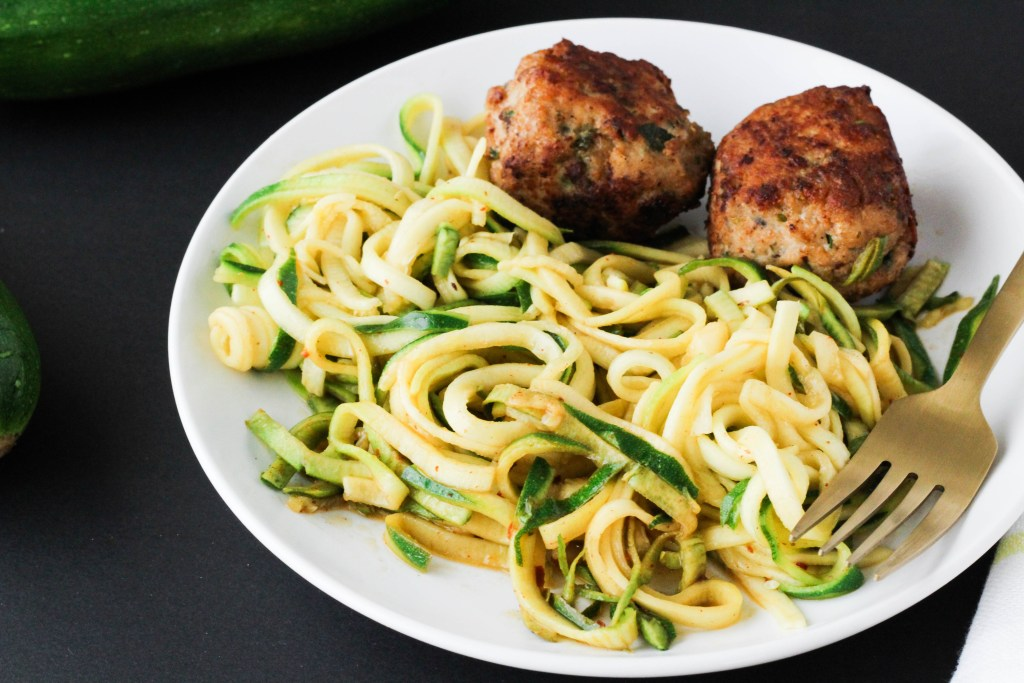 Zucchini noodles with turkey meatballs