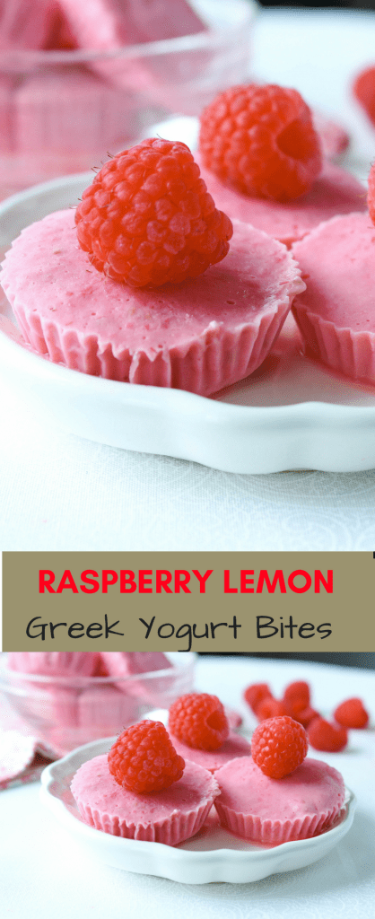 Raspberry Greek yogurt bites
