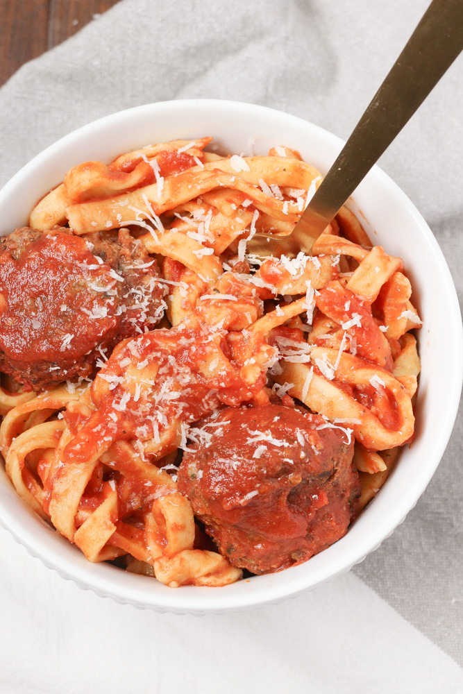 homemade pasta and meatballs