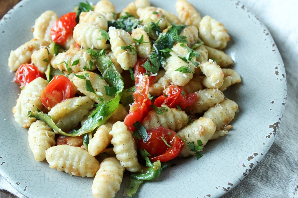 Gnocchi with zucchini ribbons and cherry tomatoes