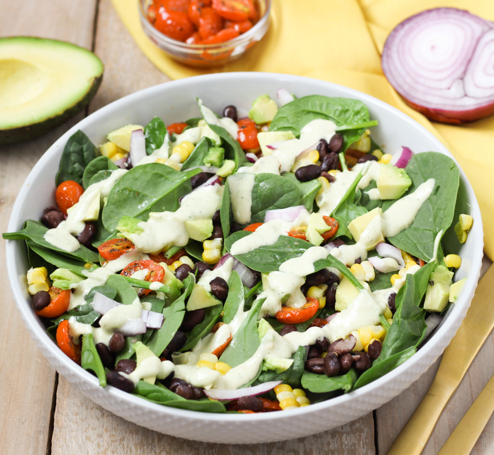 spinach salad with Tahini dressing