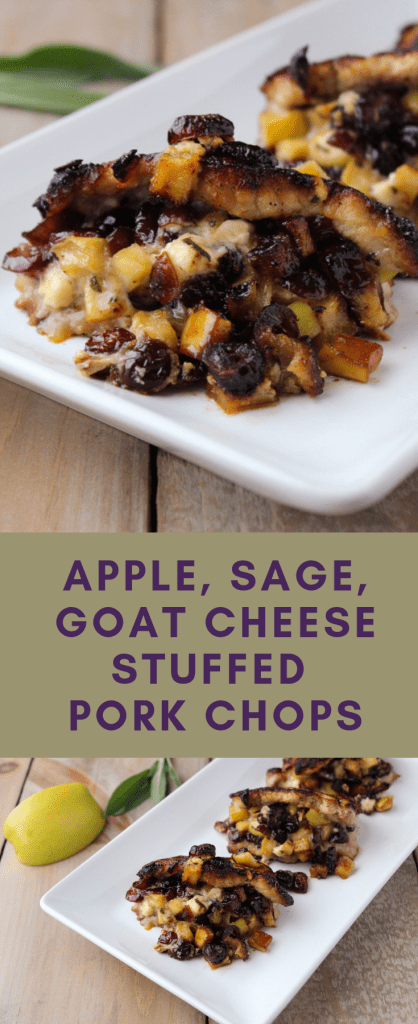 Apple, sage, goat cheese stuffed pork chops