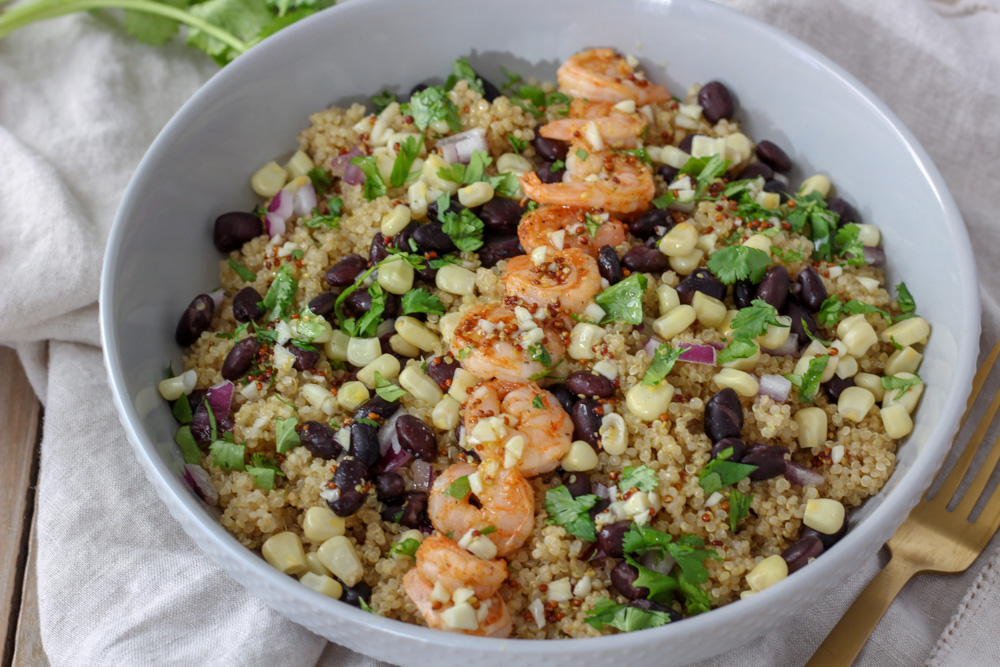 Marinated shrimp quinoa bowl