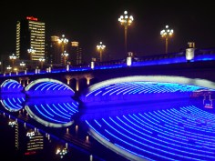 Another bridge, lit up in Chengdu