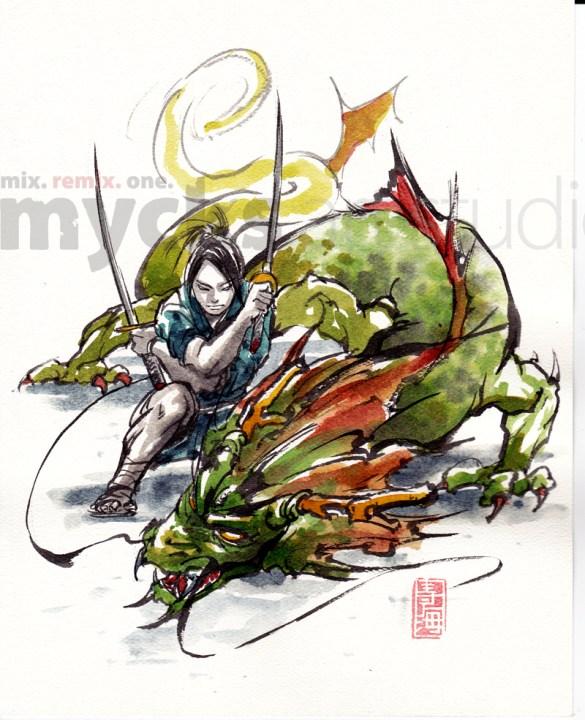samurai_and_dragon_by_mycks-d4nyji6
