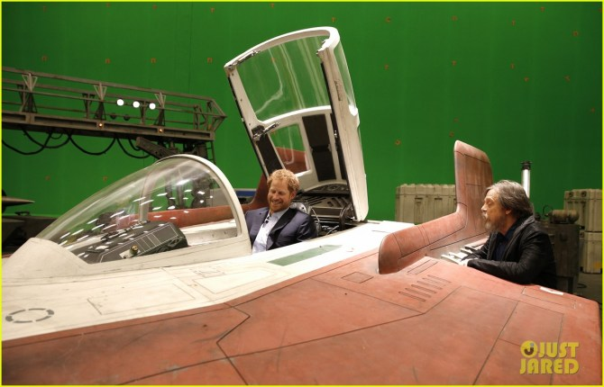IVER HEATH, ENGLAND - APRIL 19: Prince Harry sits in an A-wing fighter as he talks with US actor Mark Hamill during a tour of the Star Wars sets at Pinewood studios on April 19, 2016 in Iver Heath, England. Prince William and Prince Harry are touring Pinewood studios to visit the production workshops and meet the creative teams working behind the scenes on the Star Wars films. (Photo by Adrian Dennis-WPA Pool/Getty IMages)