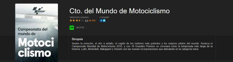 Ver Mundial de Motos 2018 en YOMVI