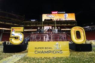 The Levi's stadium Super Bowl 50 photography crew post game on the award stage