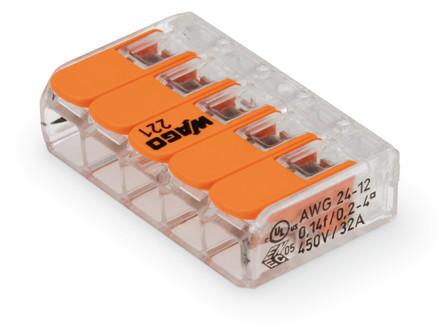 WAGO Kompaktna kratkospojna klema - za 5-provodnika - sa polugama - Maksimalna radna temperatura 85°C - 221-415