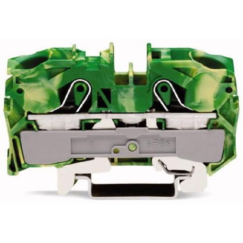 WAGO Prolazna klema za 2 provodnika - Za provodnike 16 mm2 - Klema za uzemljenje - Centralno i bočno označavanje - Za DIN-šinu 35 x 15 i 35 x 7.5 - 2016-1207