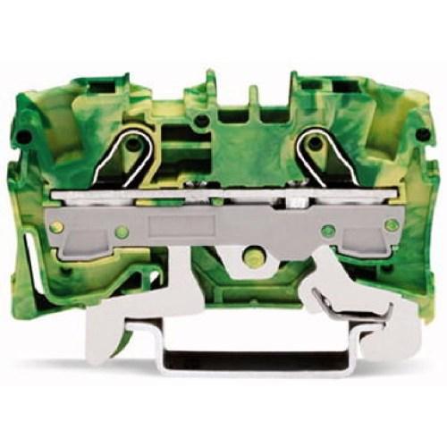 WAGO Prolazna klema za 2 provodnika - Za provodnike 6 mm2 - Klema za uzemljenje - Centralno i bočno označavanje - Za DIN-šinu 35 x 15 i 35 x 7.5 - 2006-1207