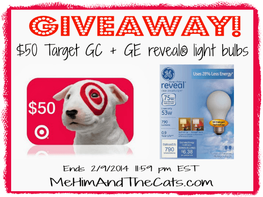 $50 Target GC + GE reveal® light bulbs