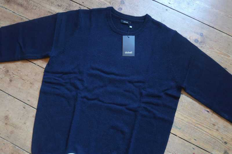 Dobell Navy Lambswool Crew Neck Jumper