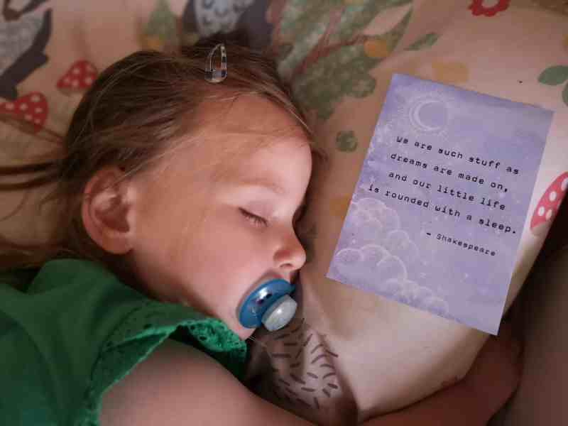 Erin asleep with Shakespeare quote