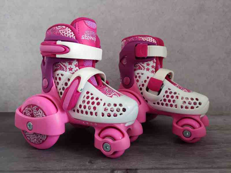 SFR Stomper Pink Girls Adjustable Tri Roller Skates