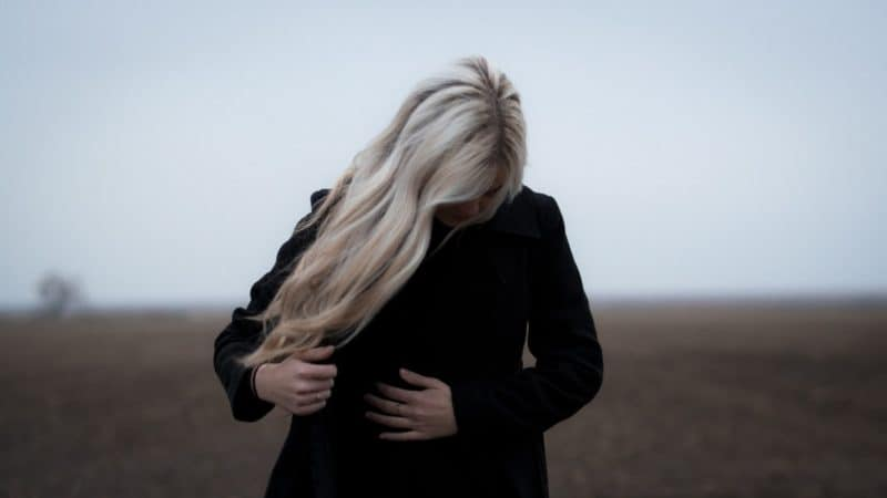 Woman with long blonde hair