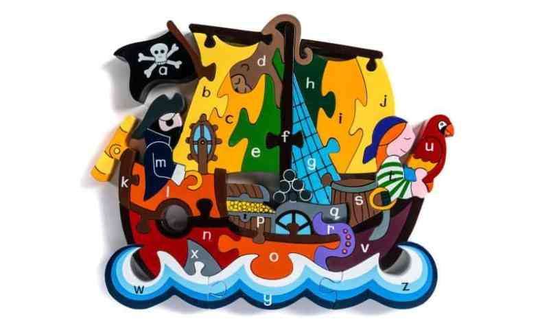 Pirate ship alphabet wooden jigsaw