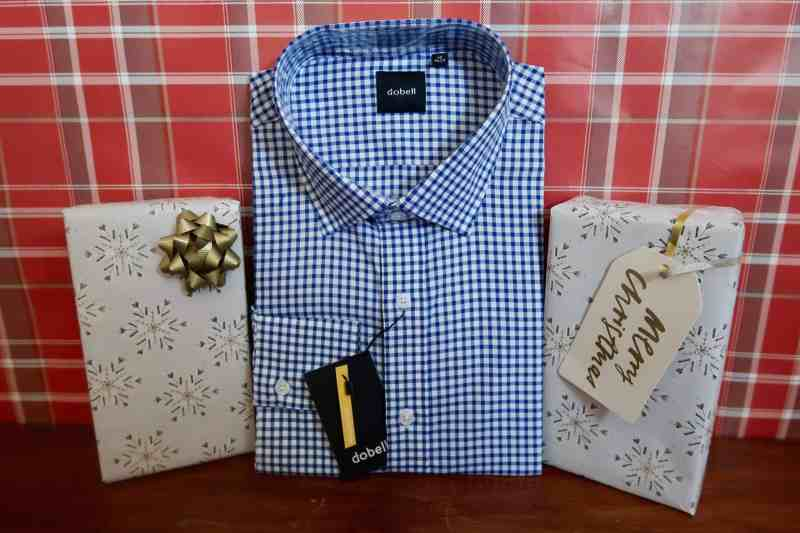Dobell Blue 100% Cotton Large Check Shirt