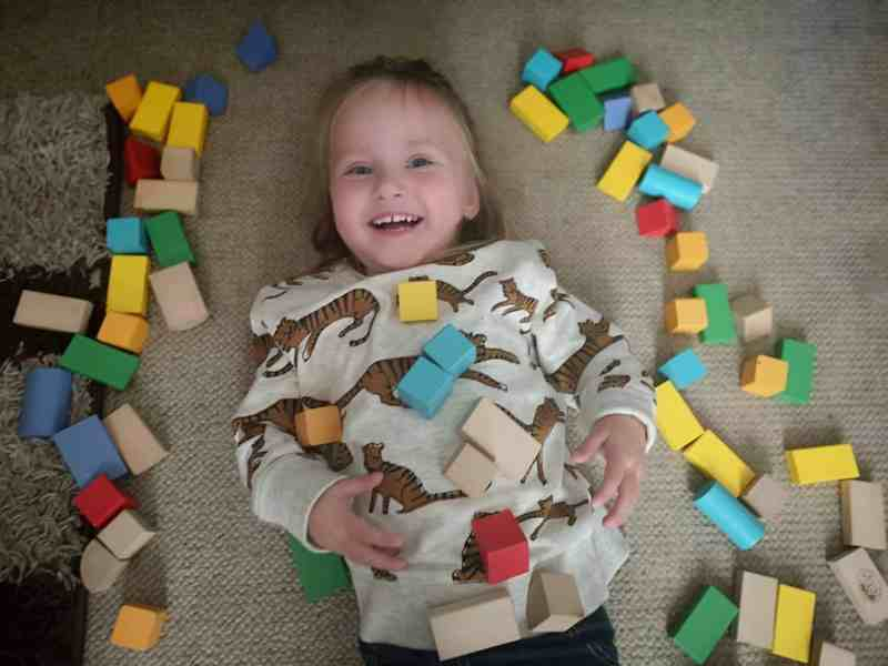 Erin playing with blocks