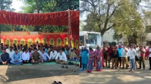 महाराष्ट्र : विभिन्न माँगों को लेकर पूरे प्रदेश के परिवहन कर्मी बेमियादी भूख हड़ताल पर