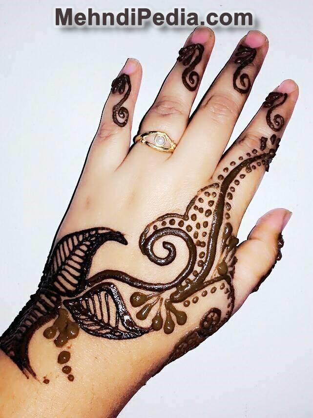 Easy Arabic mehndi designs for kid left hand back side