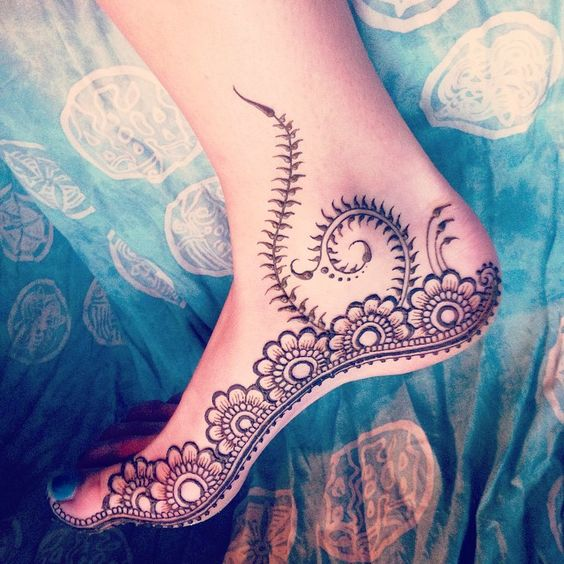 indian mehndi designs for feet side