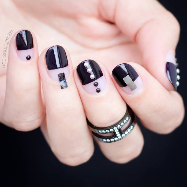 short nail designs half white and half black