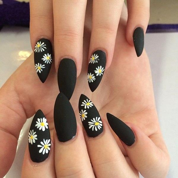 glitter nail in full black color and white rose