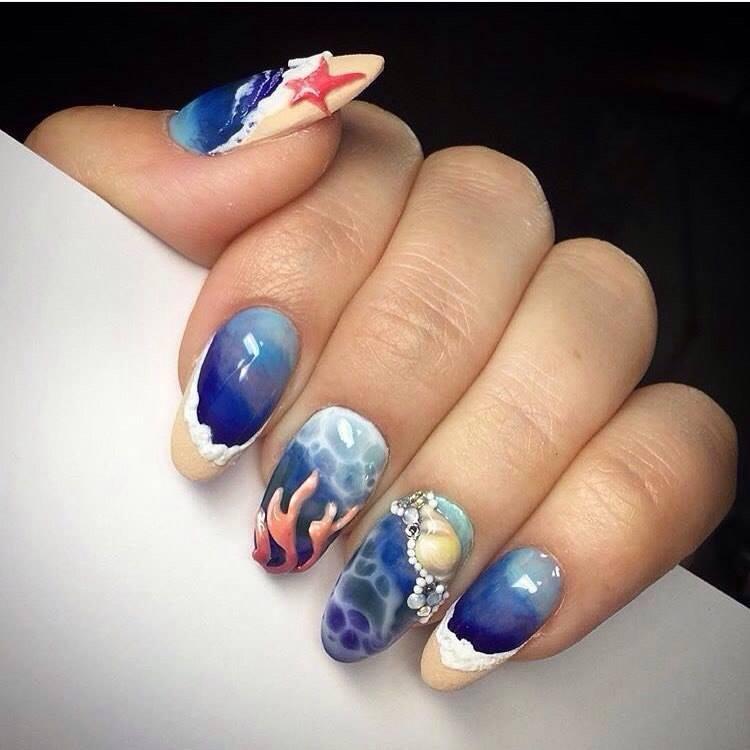 nail art blue sky art beautiful