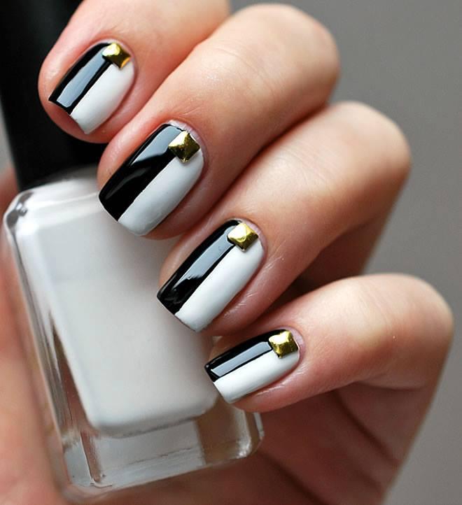 half black and half white nail art image designs