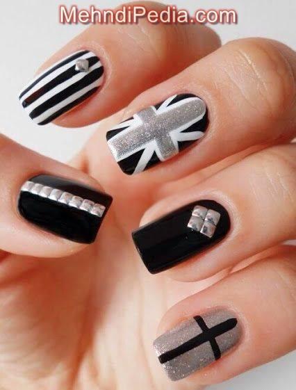 flag and cross nail art design