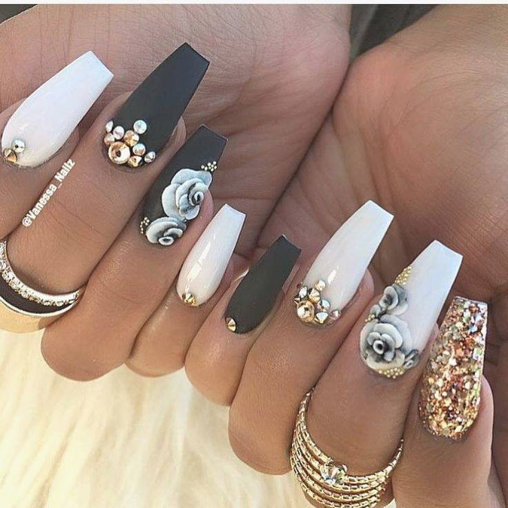 black white with flowers nail desings