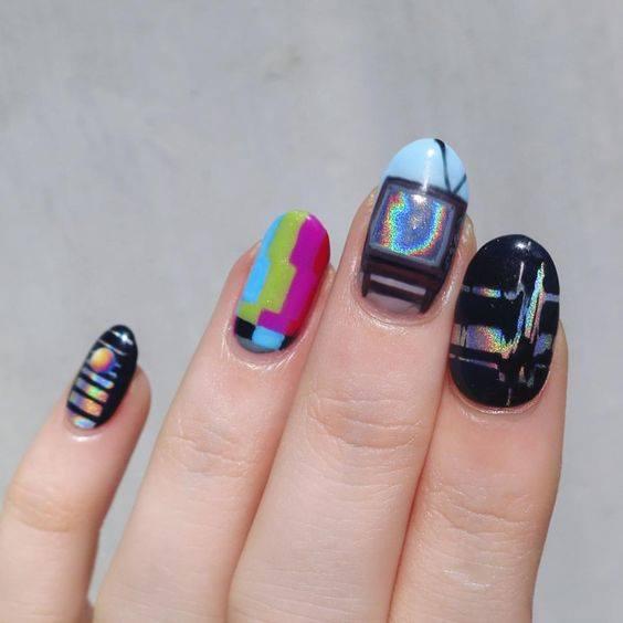 different color nail art designs