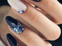 French Tips with Stained Glass nail art designs