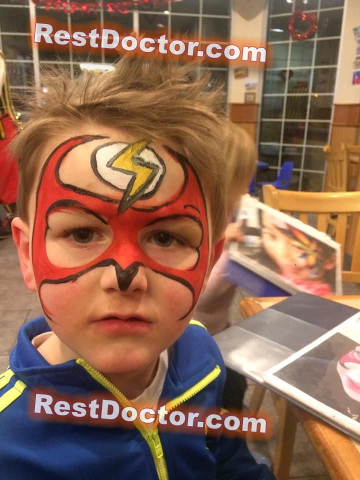 scary spider man face paint for little kid