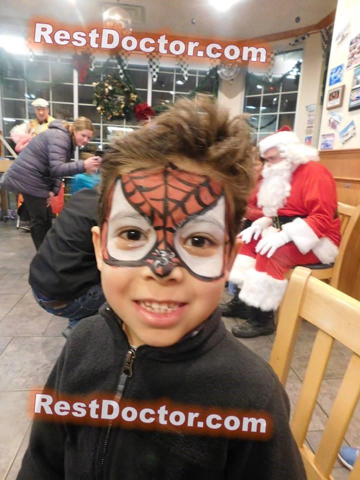 cute spider man face paint cheek for boy