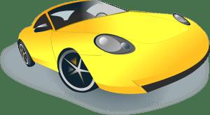 Rennauto in gelb